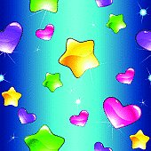 Cheerful seamless pattern with shiny hearts and stars