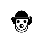 Cheerful Smiling Clown Flat Vector Icon