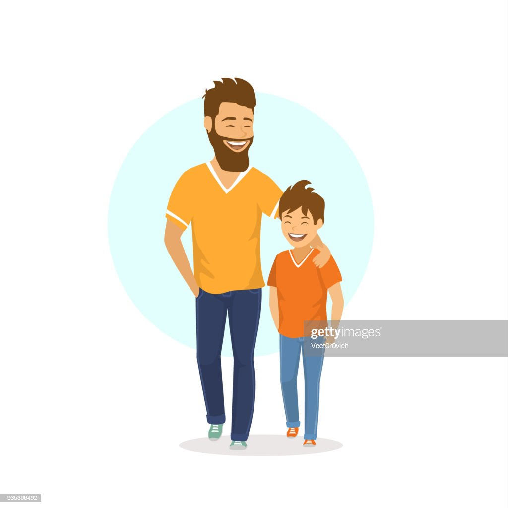cheerful smiling laughing father and son walking together, talking