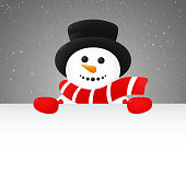 Cheerful snowman - concept of poster with copyspace. Vector.