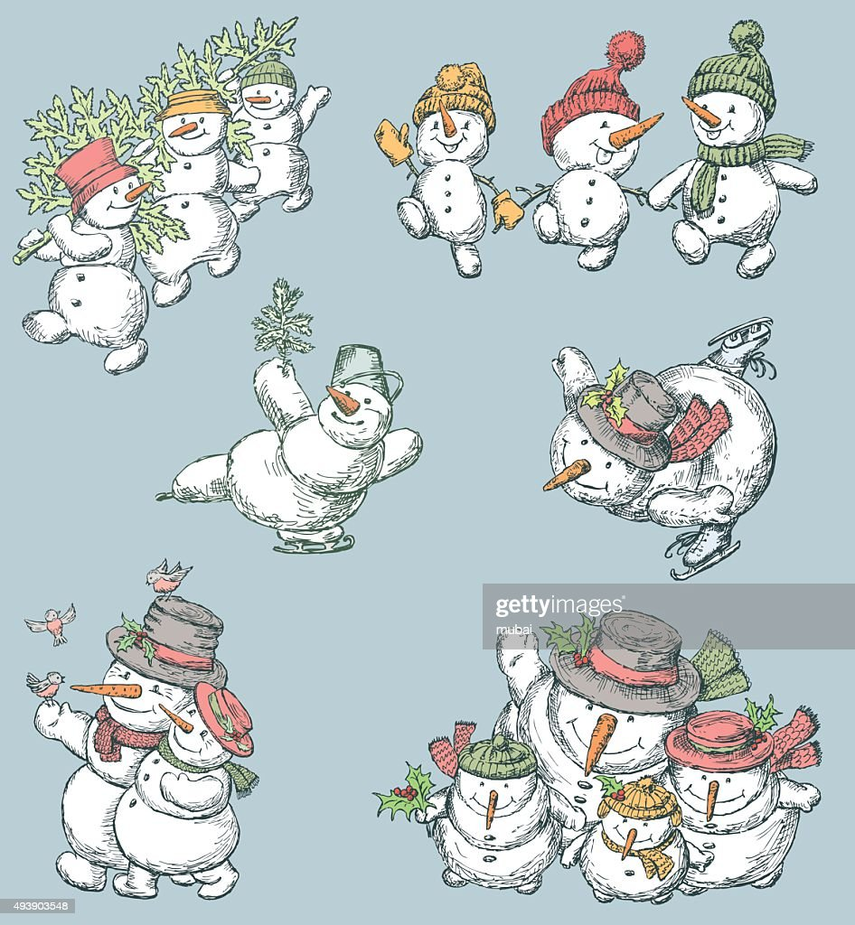 cheerful snowmen set