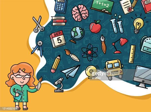 illustrations, cliparts, dessins animés et icônes de enseignant gai peignant l'univers d'école avec l'ensemble éducatif différent des icônes - vie scolaire