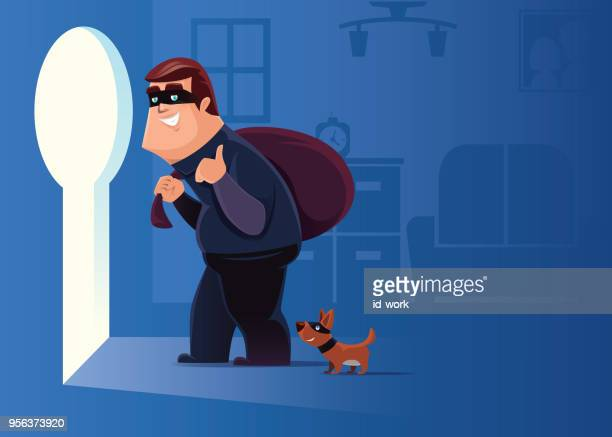 cheerful thief with dog leaving unlocked apartment