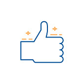 Cheerful thumbs up with stars. Approval, certified vector trendy thin line icon illustration design