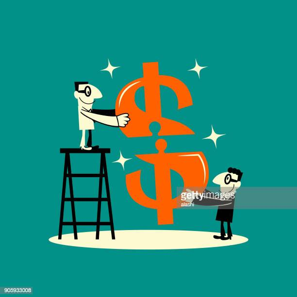 cheerful two businessmen completing dollar currency sign jigsaw puzzle - financial technology stock illustrations, clip art, cartoons, & icons