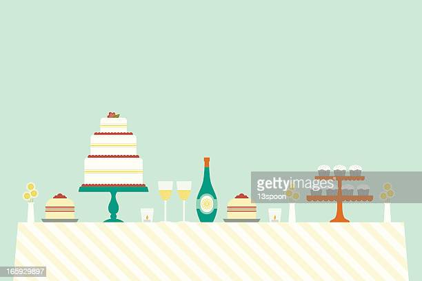 cheerful wedding day table - dessert stock illustrations