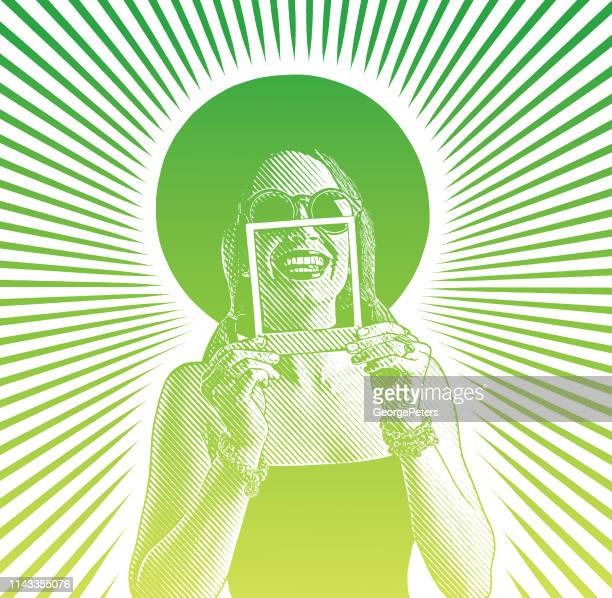 cheerful woman framing toothy smile with instant photo - only young women stock illustrations