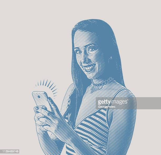cheerful young woman using phone - desaturated stock illustrations, clip art, cartoons, & icons