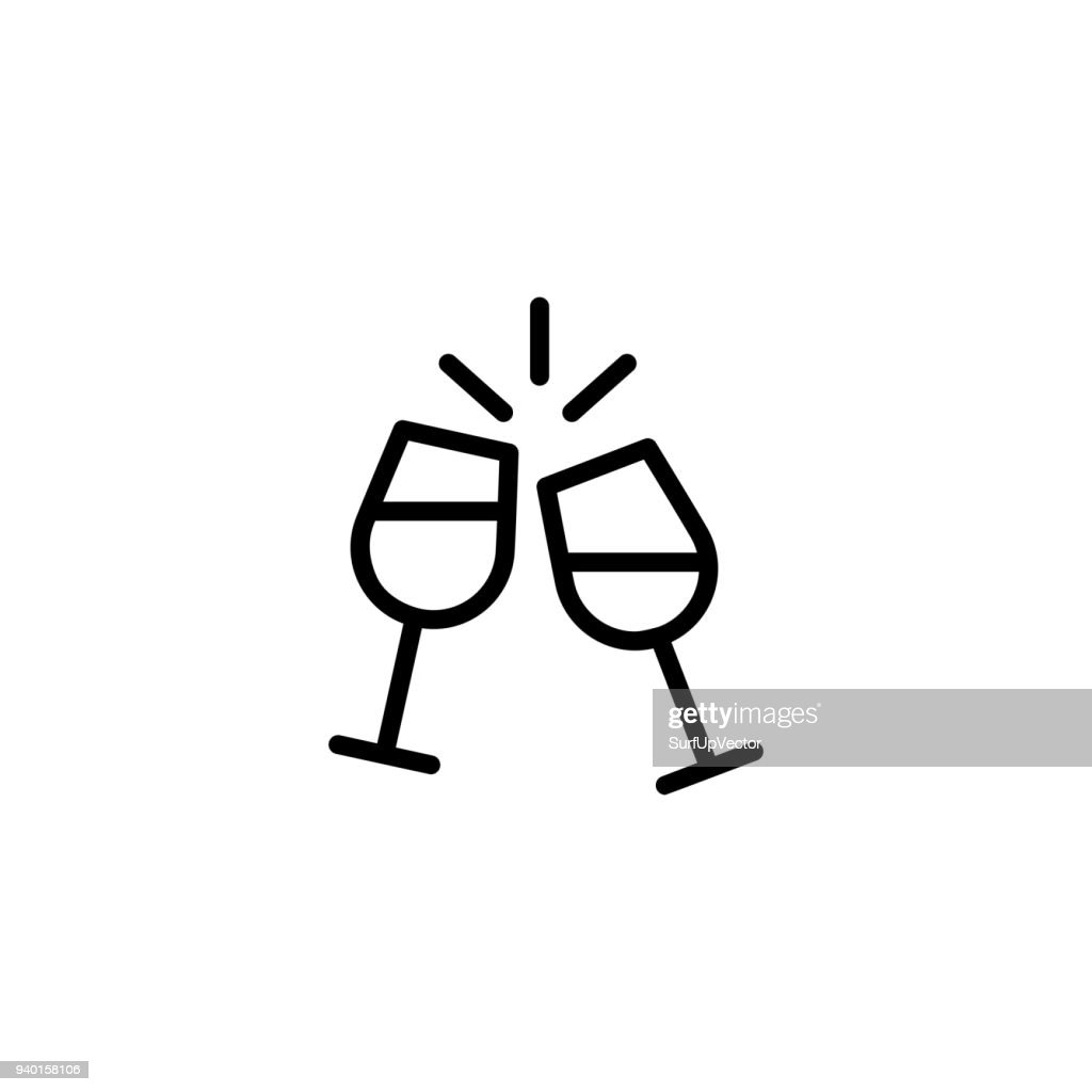 Cheering champagne flutes icon