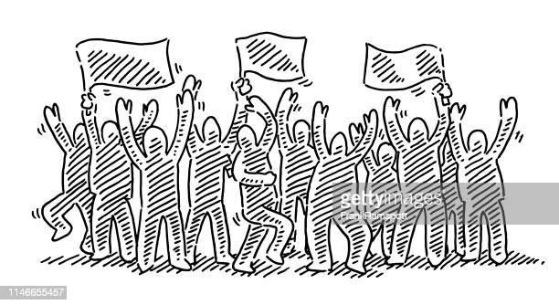 stockillustraties, clipart, cartoons en iconen met juichende menigte groep mensenviering tekening - menselijke vorm