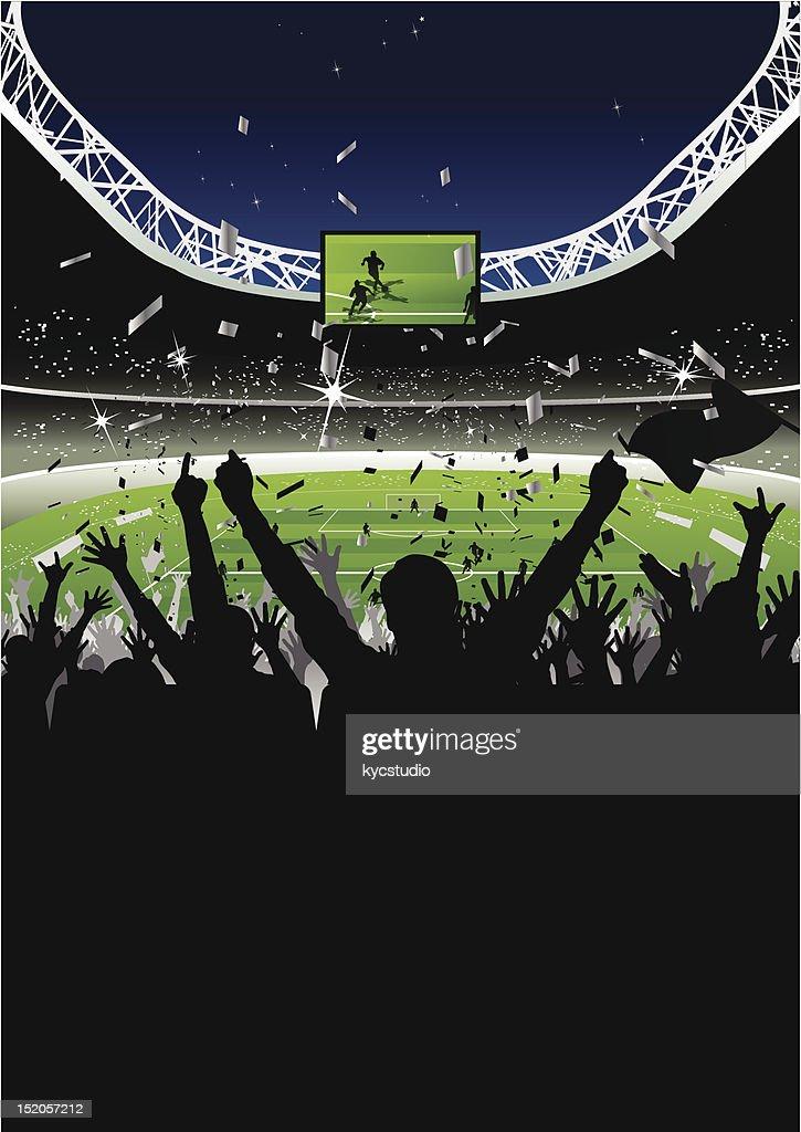 Cheering Crowd in Soccer Stadium at Night : stock illustration