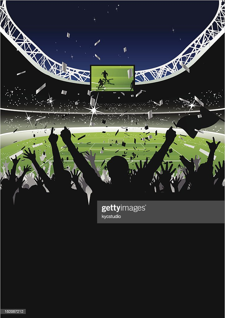 Cheering Crowd in Soccer Stadium at Night