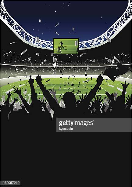 cheering crowd in soccer stadium at night - football field stock illustrations, clip art, cartoons, & icons