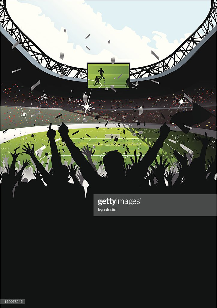 Cheering Crowd in Soccer Stadium