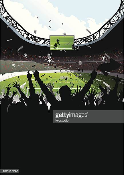 cheering crowd in soccer stadium - football field stock illustrations, clip art, cartoons, & icons
