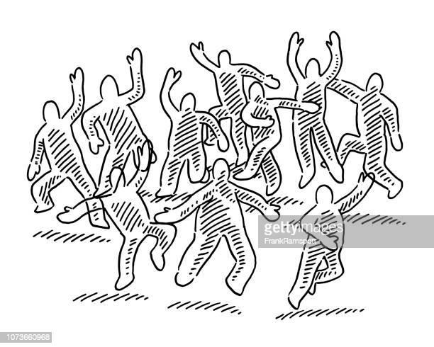 Gruppe von Menschen jubeln Figuren zeichnen