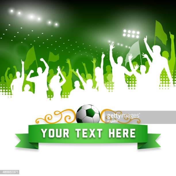ilustrações, clipart, desenhos animados e ícones de comemorando os fãs de futebol banner - esporte