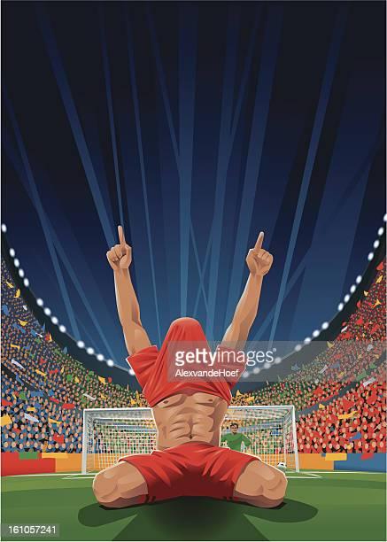 ilustraciones, imágenes clip art, dibujos animados e iconos de stock de aclamando jugador de fútbol después de pena - gradas