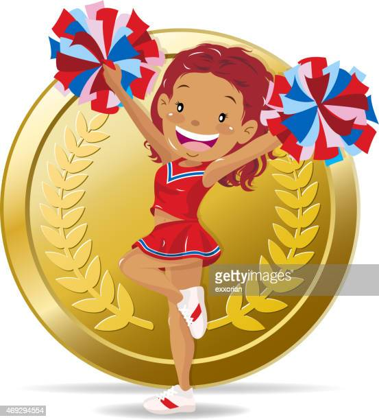 cheerleader cheers for sports in front of medal - pep rally stock illustrations, clip art, cartoons, & icons