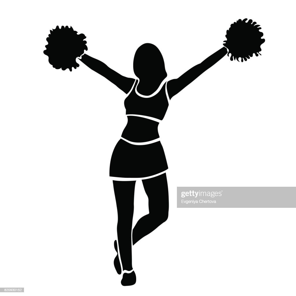 Cheerleader girl silhouette. Contour girl with hands up waving pompoms. Isolated on white background. Vector illustration