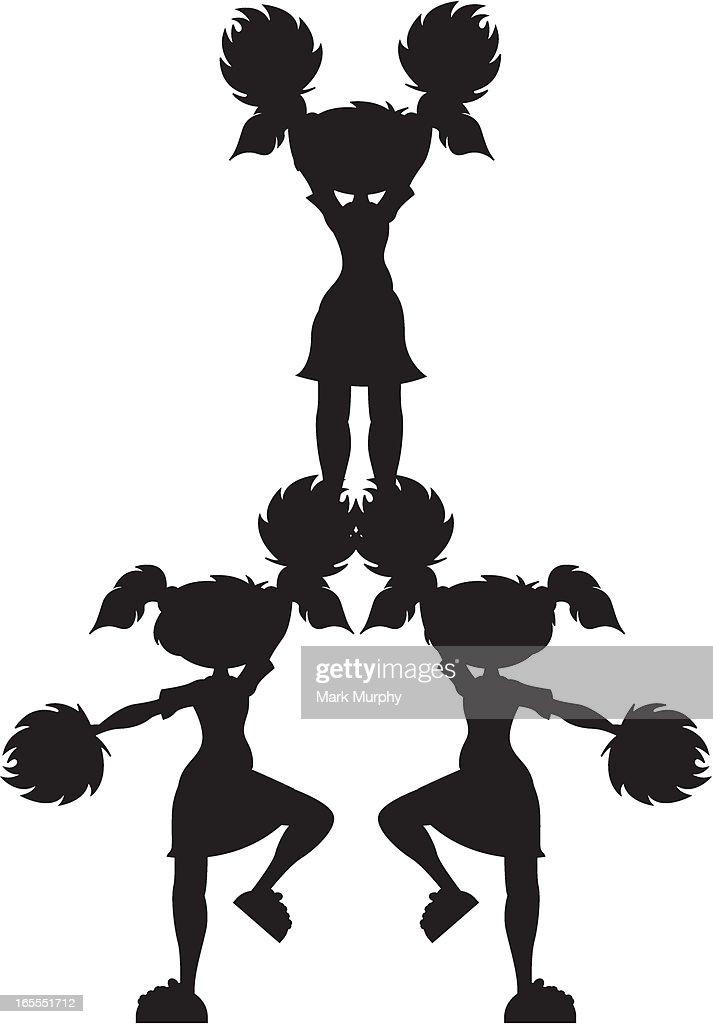 Cheerleader in Pyramid Formation Silhouette : stock illustration