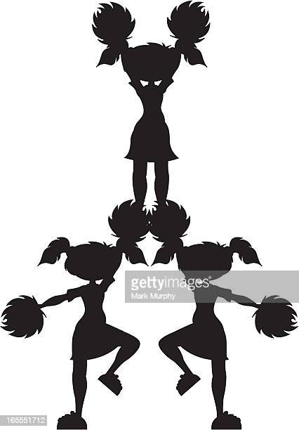 Cheerleader in Pyramid Formation Silhouette