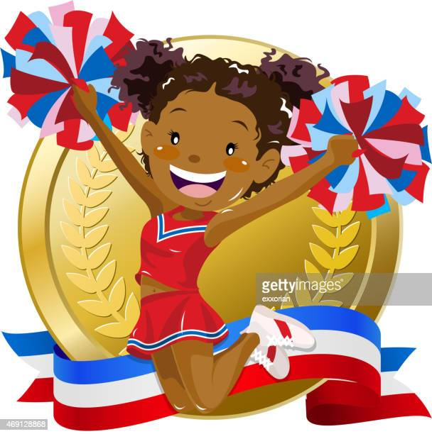 cheerleader jumping in front of golden medal - pep rally stock illustrations, clip art, cartoons, & icons