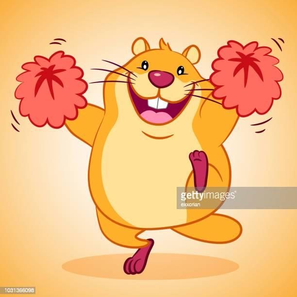 cheerleader marmot for happy groundhog day - pep rally stock illustrations, clip art, cartoons, & icons