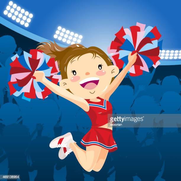 cheerleader performing at the stadium - pep rally stock illustrations, clip art, cartoons, & icons