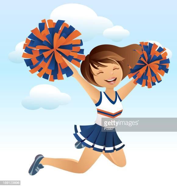 cheerleader - pretty brunette woman cartoon stock illustrations