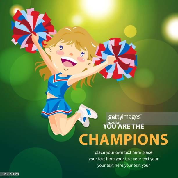 cheerleader - pep rally stock illustrations, clip art, cartoons, & icons