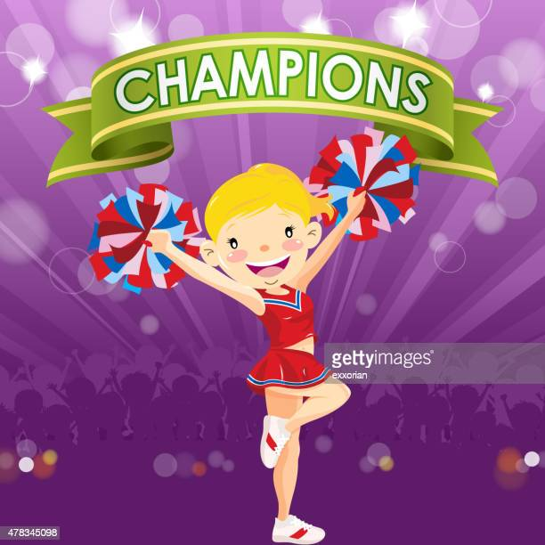 cheerleader with banner - pep rally stock illustrations, clip art, cartoons, & icons