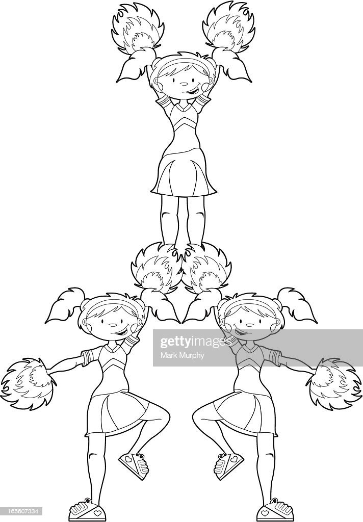 cheerleaders in pyramid formation vector art