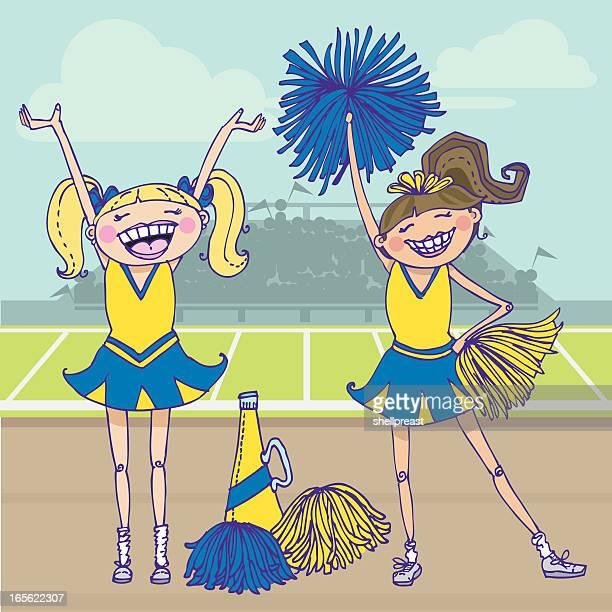 cheerleaders - pom pom stock illustrations