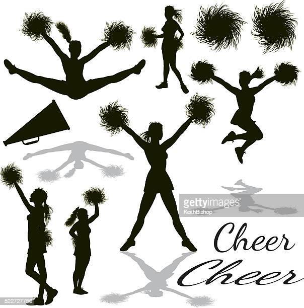 cheerleading, cheerleaders, equipment - pom pom stock illustrations