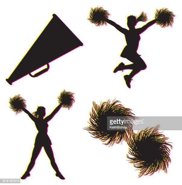 cheerleading, cheerleaders, megaphone, pom-poms - sport set competition round stock illustrations