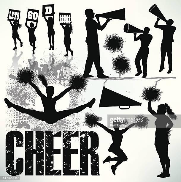 cheerleading, cheerleaders, sports set - pom pom stock illustrations