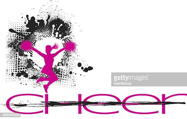 cheerleading grunge graphic - cheerleader stock illustrations
