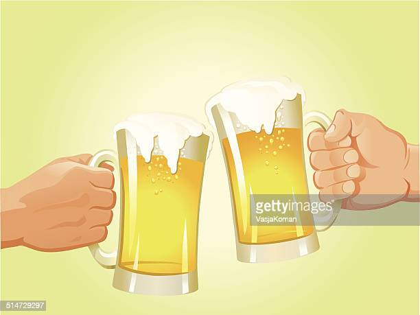 cheers - beer glass stock illustrations, clip art, cartoons, & icons