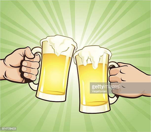 cheers with beer glasses - beer glass stock illustrations, clip art, cartoons, & icons