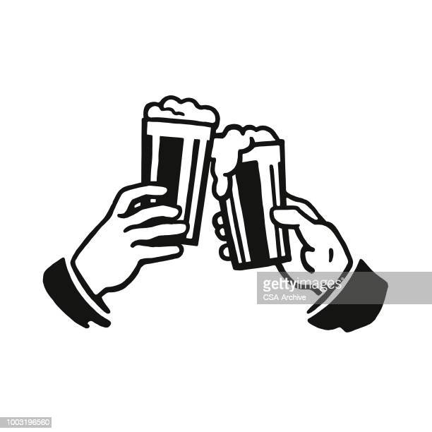 cheers with two glasses of beer - happy hour stock illustrations, clip art, cartoons, & icons