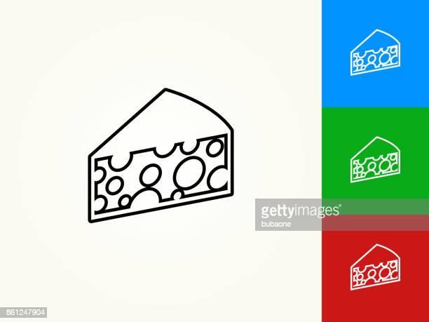 Käse-schwarzer Strich lineare Symbol