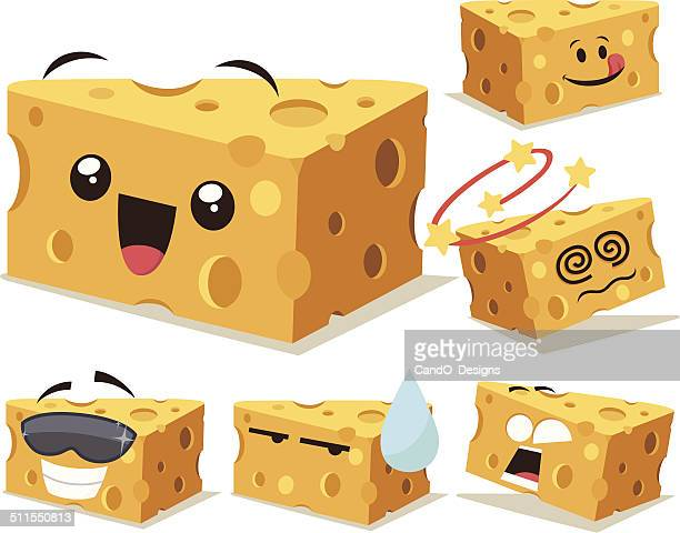 cheese cartoon set a - breakfast cartoon stock illustrations