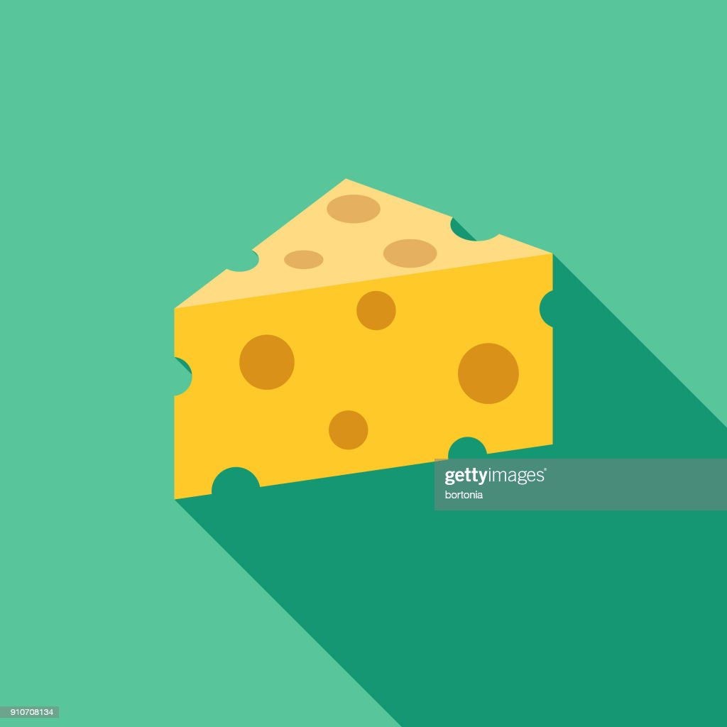 Cheese Flat Design BBQ Icon with Side Shadow