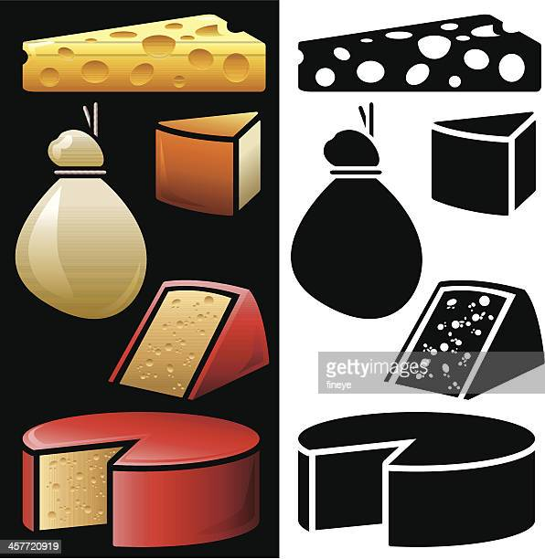 cheese icons - cheddar cheese stock illustrations, clip art, cartoons, & icons
