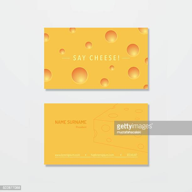 cheese maker business card design - cheddar cheese stock illustrations, clip art, cartoons, & icons