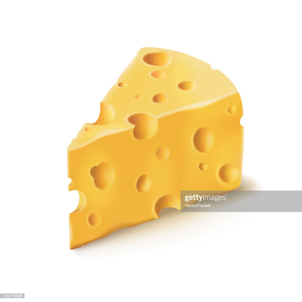 Cheese piece with holes vector 3D realistic dairy food icon