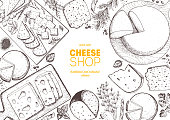Cheese top view frame. Vector illustration with a collection of cheese. Engraved style image. Dairy farm products.