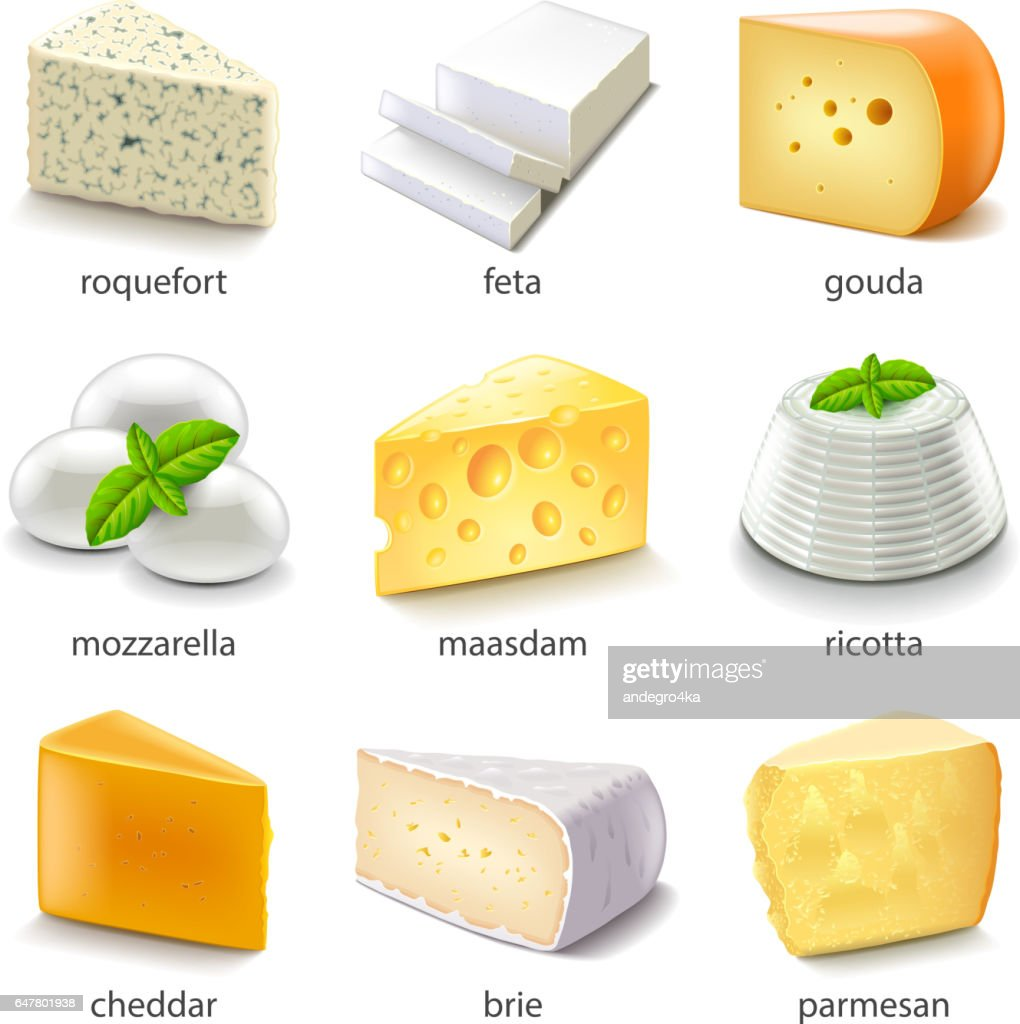 Cheese types icons vector set