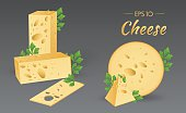 Cheese with parsley. Milk product